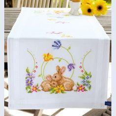 Cuddling Rabbits - loper - voorgedrukt handwerkpakket - Vervaco