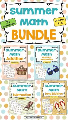 Skip the Summer Slide this year with this Summer Math BUNDLE.  There are 24 different summer themed worksheets in this bundle.  Topics include: Addition, Subtraction, Multiplication and Long Division.  Answer keys are provided for easy grading.  Each topic has 2 files: teacher version with answers and student version without answers.