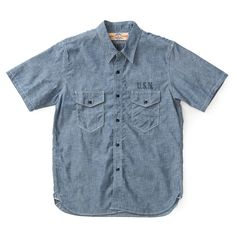 The Real McCoy's U.S.N. Chambray Shirt S/S (Stencil) MS18014-STENCIL