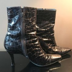 STUART WEITZMAN Embossed Patent Alligator / Crocodile Zip Bootie Boots Heels 6.5 #StuartWeitzman #FashionMidCalf