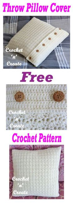 Free crochet pattern for throw pillow cover. #crochet