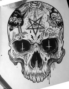 Sac Tutorial and Ideas Skull Tattoo Design, Tattoo Design Drawings, Skull Tattoos, Tattoo Sketches, Body Art Tattoos, Sleeve Tattoos, Tattoo Designs, Tattoo Ideas, Satanic Tattoos