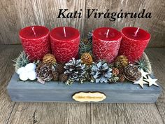 Advent Wreath, Christmas Decorations, Table Decorations, Amelie, Centerpieces, Wreaths, Holiday Wreaths, Christmas Decor, Door Wreaths