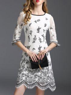 Shop Mini Dresses - White A-line Half Sleeve Crew Neck Embroidered Mini Dress online. Discover unique designers fashion at StyleWe.com.