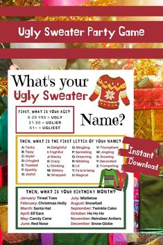 Ugly Sweater Party Game for your next Holiday or Christmas Gathering and find out what Whats Your Ugly Sweater Name? Fun Christmas Party Games, Xmas Games, Christmas Games For Family, Holiday Games, Christmas Party Decorations, Christmas Activities, Christmas Fun, Holiday Fun, Christmas Drinking Games