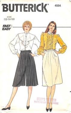 BUTTERICK 4554 - FROM 80S - UNCUT - MISSES SKIRT & CULLOTTES
