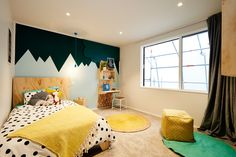 Kids will be racing to go to bed with Alex and Corbans choice of bright colours and wall stencilling. Headboard Decor, Headboard Designs, Plywood Headboard, The Block Nz, To Go, Teenage Room, Baby Room Design, Küchen Design, Kid Spaces