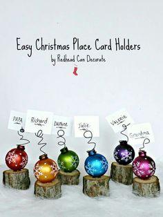 Mini-Tree Stump Christmas Place Card Holders