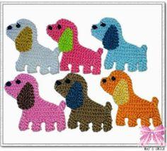 Items similar to crochet puppy doggy big ear applique/scrapbook/sew craft/flatback on Etsy Crochet Applique Patterns Free, Crochet Motifs, Crochet Blanket Patterns, Baby Knitting Patterns, Baby Blanket Crochet, Crochet Dinosaur, Crochet Elephant, Crochet Gifts, Crochet Toys