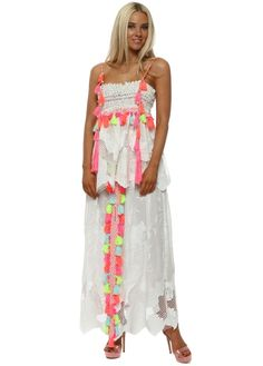 6923f53e9e White Lace Neon Tassle Split Front Maxi Skirt   Top