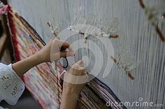 Photo about Traditional weaving loom - woman hands weaving. Image of industry, culture, sitting - 91969362 Loom Weaving, Hand Weaving, Textiles, Hands, Culture, Stock Photos, Traditional, Woman, Abstract