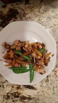 Vegetariam stir fry!! (Herb Tofu, snow peas, bean sprouts, organic yellow pepper, zucchini and onions :) with teriyaki sauce