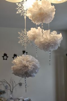 Winter ONEderland Wonderland First Birthday Celebration Party Decor Snowflakes Snowballs Tissue Pom Poms Hanging Crystals