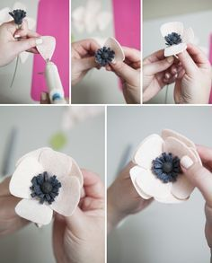 Learn how to make a simple and beautiful felt anemone flower! We show you exactly how to make the perfect felt anemone in this step by step tutorial. and we also share our favorite resource for gorgeous wool felt! Handmade Flowers, Diy Flowers, Fabric Flowers, Paper Flowers, Exotic Flowers, Flowers Garden, Fresh Flowers, Purple Flowers, Felt Flower Tutorial