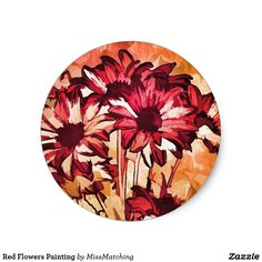 Red Flowers Painting Classic Round Sticker