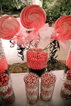 Candy Table Centerpieces | Photos courtesy of staff at Doug Fitzjerral Photography. Cake by Bobby ...
