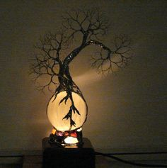 Full Moon Rising Wire Tree Of Life Grove Spirits sculpture on natural Silky White Selenite Sphere Gemstones Lamp, original art  LP11.  via Etsy.