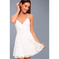 Lulus  Magnolia Blossom White Lace Skater Dress ($56) ❤ liked on Polyvore featuring dresses, white, lulus dress, lace dress, floral skater skirts, white dresses and white flared skirt