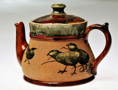 Florence Barlow Doulton Lambethware teapot decorated with birds, c. 1880