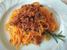 Tajarin al Ragu--fresh egg pasta with ragu sauce