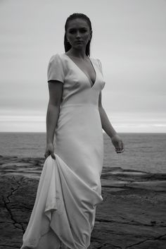 Marin Gown shot in West Coast of Ireland West Coast Of Ireland, Ea, Wilderness, Wrap Dress, Gowns, Running, Bride, Collection, Dresses