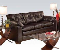 Hayley Chocolate Bonded Leather Wood Sofa