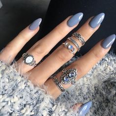 Cute Stiletto Nails With Matte Accents. If you are a passionate lover of a matte finish, have a look at these matte and cute stiletto nails. Classy Stiletto Nail Design this Winter 04 # Gray Nails, Purple Nails, Neutral Nails, Pastel Blue Nails, Periwinkle Nails, Sky Blue Nails, Blue Shellac Nails, Matte Black, Cobalt Blue Nails
