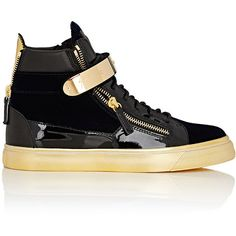 Giuseppe Zanotti Plated-Strap Double-Zip Sneakers (1,205 CAD) ❤ liked on Polyvore featuring men's fashion, men's shoes, men's sneakers, blue, mens lace up shoes, mens blue sneakers, mens monk strap shoes, mens high top shoes and mens metallic gold sneakers