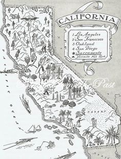 Your place to buy and sell all things handmade California Map, Map Design, Cartography, Altered Art, Whimsical, How To Look Better, How To Draw Hands, San Francisco, Illustrated Maps
