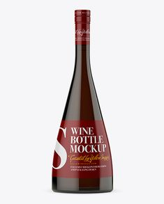 Dark Amber Glass Wine Bottle Mockup Preview