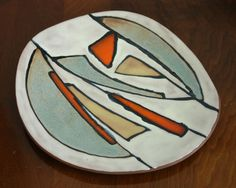 "GUY OUVRARD 1963 Modernist Freeform 13""x14"" Ceramic Display Plate QUEBEC POTTERY Ceramic Pottery, Pottery Art, Plate Display, Contemporary Ceramics, Vintage Ceramic, Canada, Guys, Studio, Pottery"