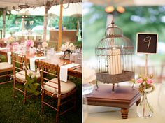 Vintage birdcages and lanterns to decorate the tables.