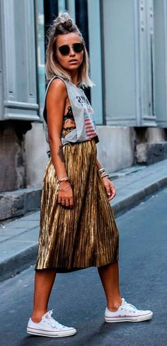 #graphic #glam gold #sequin skirt and print tee #chic #outfit