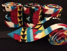Set of 4 New Soft Fleece Polo Horse Leg Wraps - Red Blue Yellow Aztec Polo Wraps, Polo Horse, Horse Stuff, Tack, 4th Of July Wreath, Blue Yellow, Aztec, Horses, Red