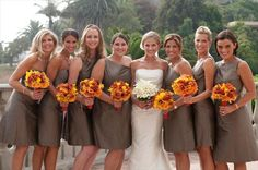 Love love love the combo of taupe dresses with orange flowers.