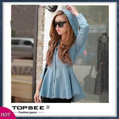 2014 New Korean Style Slim Women Shirts Fashion Solid Blue Jean Blouse Long Sleeve Hooded Denim Blouses Free Shipping A3030