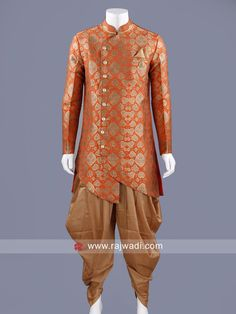Marvelous Dark orange brocade silk Indo Western is embellished with Stylish Buttons will definitely touch your soul. Comes with golden color patiala. Every groom would want to drape this ensemble. Western Look, Golden Color, Dark, Asian Fashion, Orange Color, Westerns, Menswear, Tunic Tops, Mens Fashion