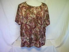 JM Collections Woman's Red / Tan Paisley Top Size 24W
