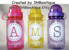 Personalized Kids Water Bottle by on Etsy Decorated Wine Glasses, Personalized Water Bottles, Monogram Fonts, School Spirit, Vinyl Projects, Gifts For Kids, Things To Sell, Fun Ideas, Creative Ideas