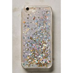 Anthropologie Floating Glitter iPhone 6 & 6 Plus Case ($42) ❤ liked on Polyvore featuring accessories, tech accessories, silver and anthropologie