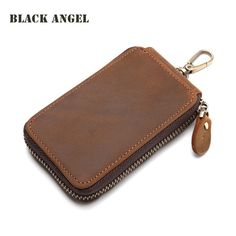 BLACK ANGEL Genuine Crazy Horse Leather Car Key Wallets Men Key Holder Housekeeper Keychain Zipper Key Case Bag