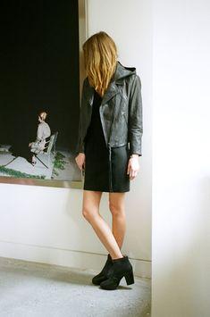 acne leather jacket w zip off hood