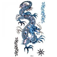 King Horse Blue Dragon Temporary Tattoos Waterproof Cool and fashion *** Read more  at the image link. Note:It is Affiliate Link to Amazon. #yummy