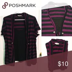 Purple and Black Layered Top Purple and Black striped cardigan style shirt, with black top inside. Gives a layered look with no layering, and has cute military style buttons to look like clasps.   EUC, great condition with minimal pilling/wear. No holes or other wear. Non-smoking, 1-dog home. Lavish Plus Tops Tees - Short Sleeve