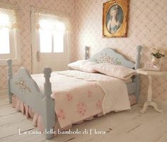 Romantique canard oeufs lit double et literie - 01:12 poupées maison miniature de maison de poupée