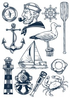 Nautical object set in vintage engraving style vector image on VectorStock Kritzelei Tattoo, Leg Tattoos, Tattoos For Guys, Nautical Drawing, Nautical Art, Vintage Nautical Tattoo, Vintage Tattoos, Nautical Style, Flash Art Tattoos