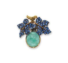 AN EMERALD AND SAPPHIRE BROOCH, BY BUCCELLATI