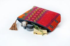 Small Ethnic Hand Embroidered Cosmetic Bag/ Pencil by Nomadist