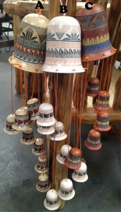 Ceramic Pottery | Unique Gifts | Southwest Ceramics | Hand-etched Ceramic Bell Wind Chime