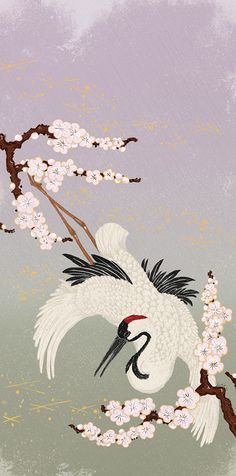 Japanese CraneInspired by Japanese Woodblock Prints (Ukiyo-e) and Kimono patterns mixing with new digital illustration.Chinese ink and Photoshop2014